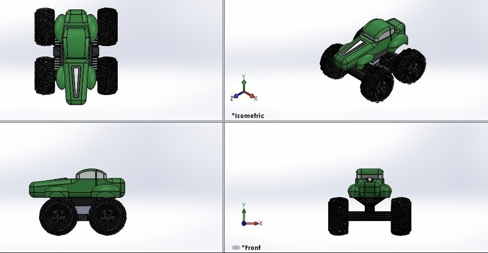 Mini Monster Truck/Car/Smart With Suspension - REMIX 3D Print 121908