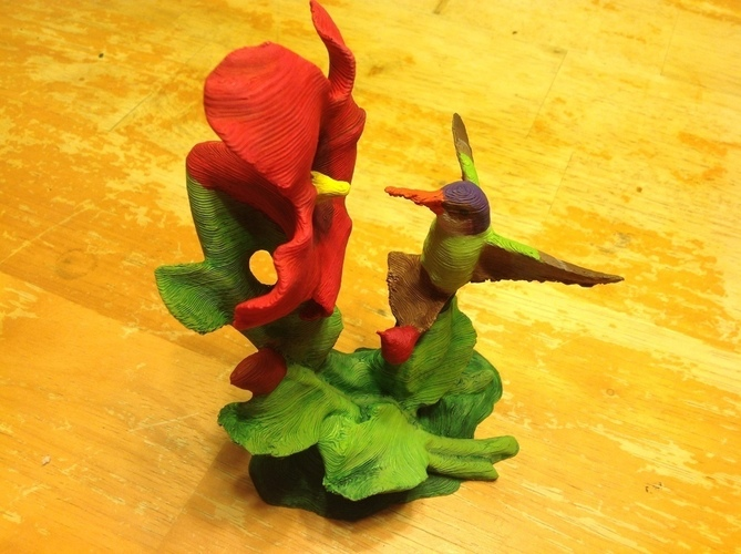 The Hummingbird & Hibiscus w/Supports-REMIX 3D Print 121913