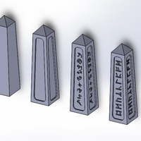 Small Obelisks - 25mm base - 100mm tall - Terrain 3D Printing 122063