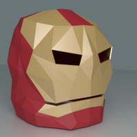 Small LowPoly Ironman Mask 3D Printing 122568