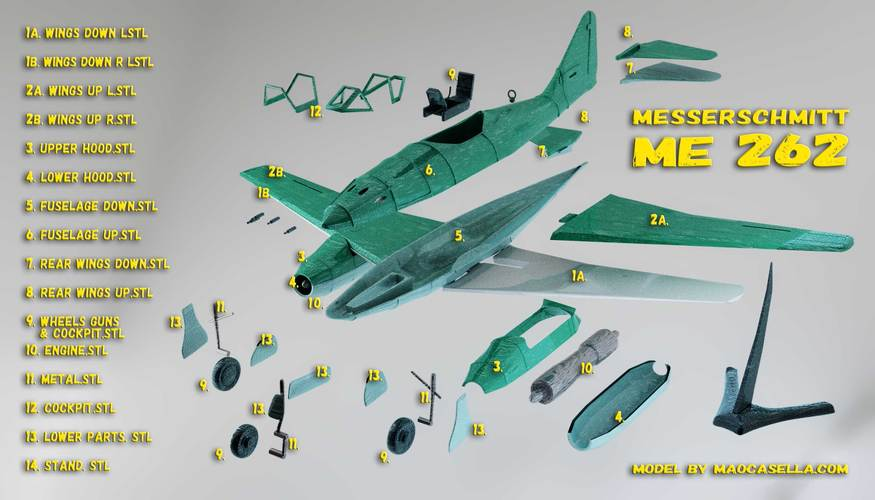 Messerschmitt Me 262 Model 3D Print 12311