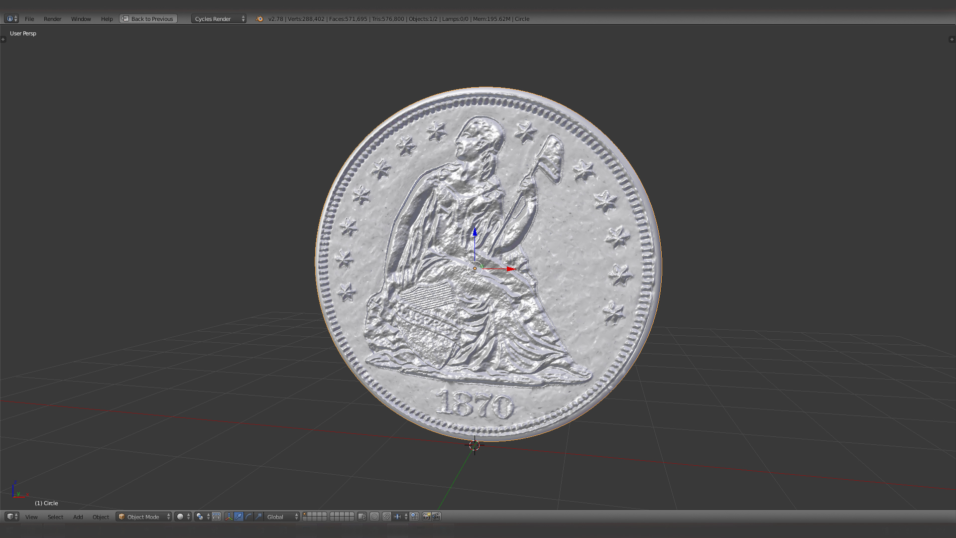 1870 S Seated Liberty Dollar US Coin @ Pinshape