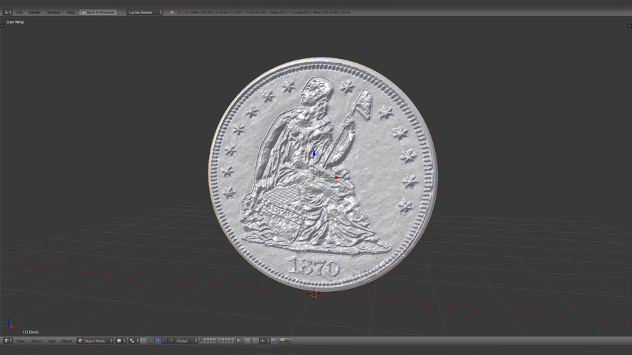 1870 S Seated Liberty Dollar US Coin 3D Print 123133