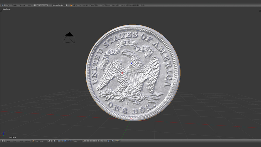 1870 S Seated Liberty Dollar US Coin 3D Print 123134
