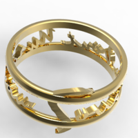 Small Tribute To Apollonaire Ring Sous le Pont Mirabeau 3D Printing 123552