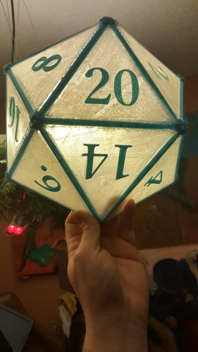 DIY D20 Ceiling Lamp Shade 3D Print 124255