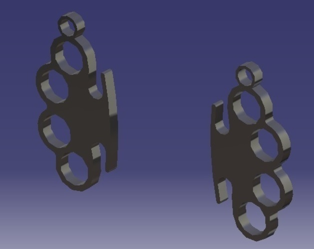 Knuckle-Duster - Earrings 3D Print 124884