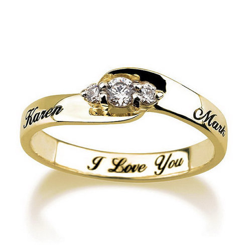Name Engraved Diamond Ring 3D Print 124937