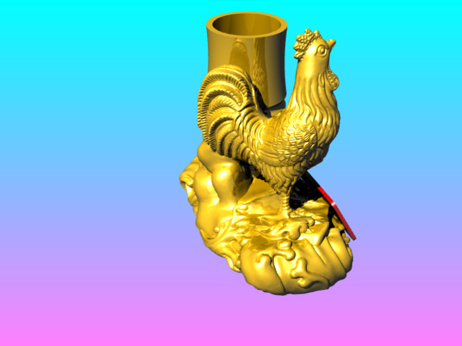 Chinese elements of the Golden Rooster pen​ holder 3D Print 125090