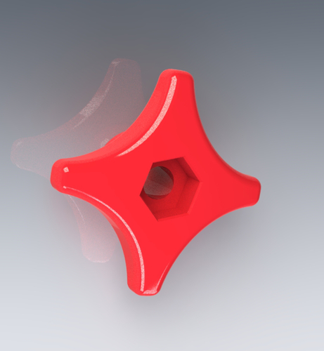 Star Knob / 4 arms / M6 bolt or nut 3D Print 125094