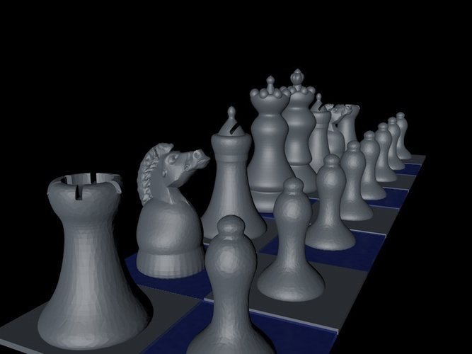 "Chess Game ""easy print"" 3D Print 125410"