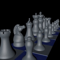 "Small Chess Game ""easy print"" 3D Printing 125410"
