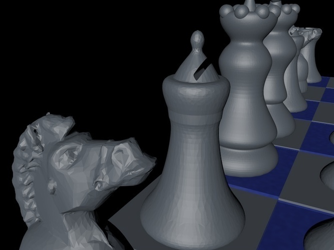 "Chess Game ""easy print"" 3D Print 125418"