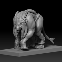 Small Humanoid Lion Creature 3D Printing 127170