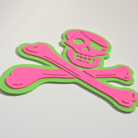 "Small ""Jolly Roger Crossbones"" 3D Printing 127198"