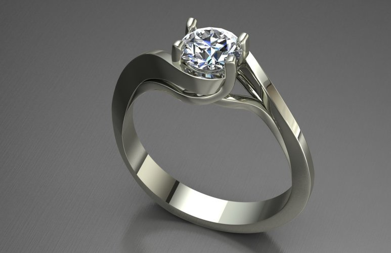 Solitaire Ring 3D Print 127622