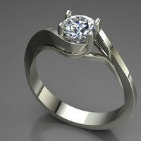 Small Solitaire Ring 3D Printing 127622