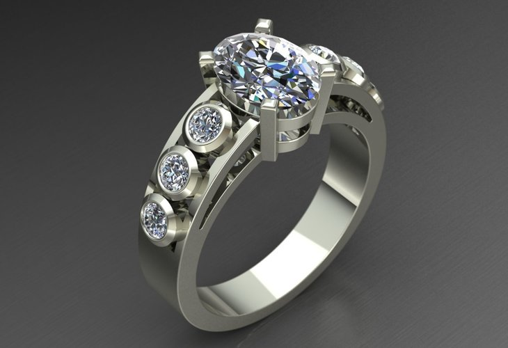 Diamond Ring Jewelry 3D Print 127711
