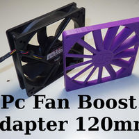 Small PC Fan Pressure Boost Adapter 120x120x10mm 3D Printing 128091