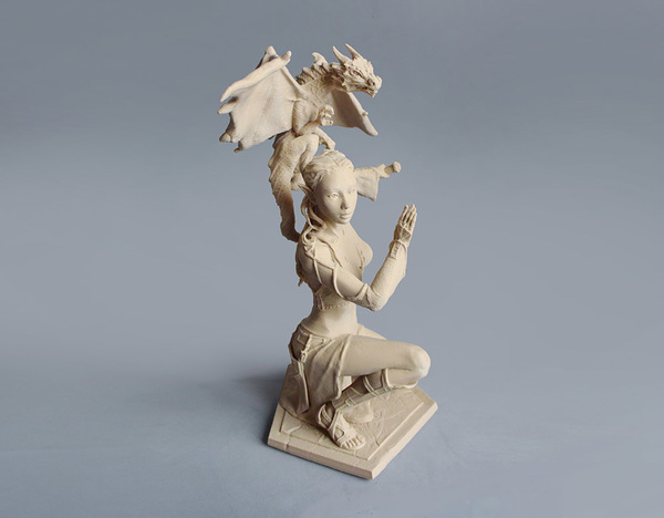 Medium Woman and Dragon 3D Printing 129397