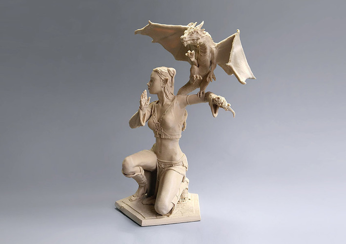 Woman and Dragon 3D Print 129399