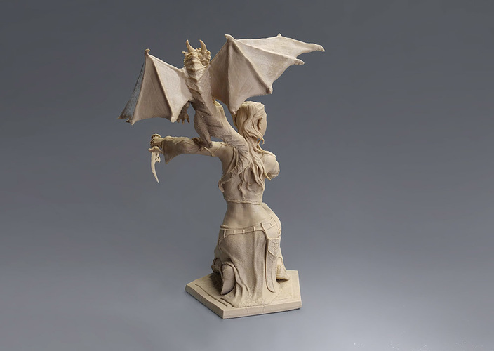 Woman and Dragon 3D Print 129400