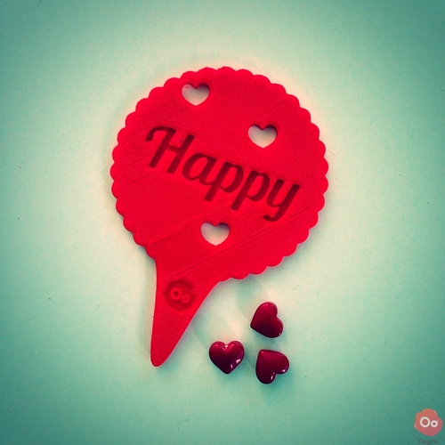 Happy Valentine's Day Cupcake Topper 3D Print 12955