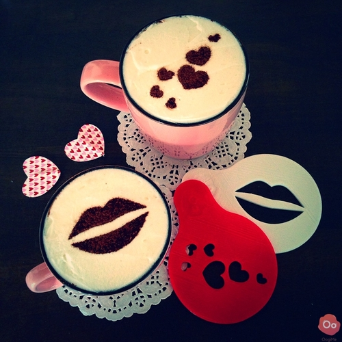 Hearts & Kisses Coffee Decorating Stencils 3D Print 12960