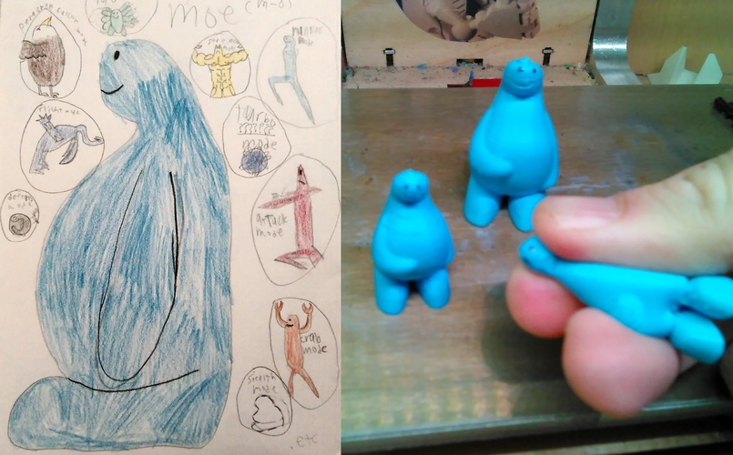 Moe - Kid drawing to 3D mini 3D Print 131041
