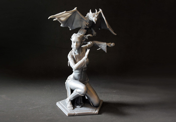 Woman and Dragon 3D Print 131173