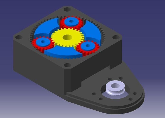 3D Printed NEMA23 planetary gearbox with an encoder mount
