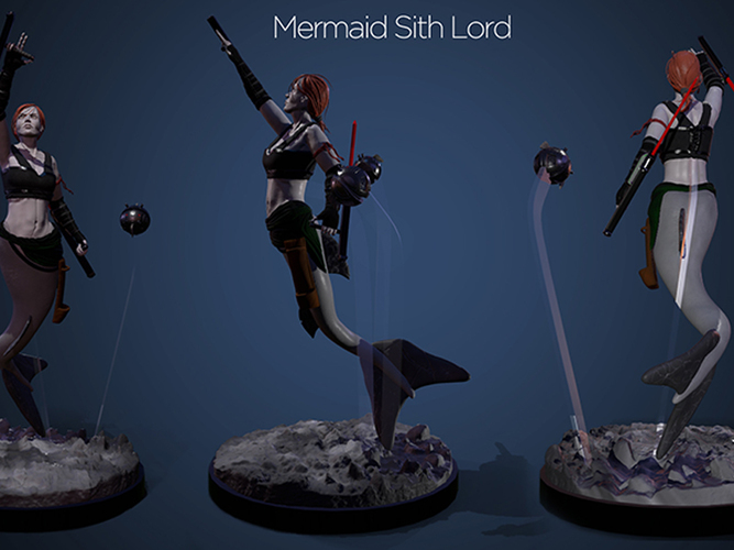 Mermaid Sith Lord - Pinshap Character Modeling Contest 3D Print 131349