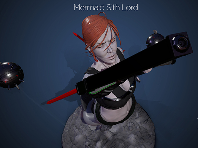 Mermaid Sith Lord - Pinshap Character Modeling Contest 3D Print 131351