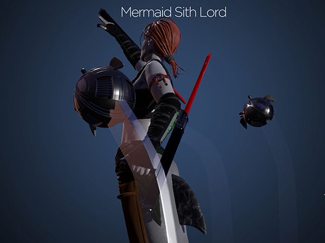 Mermaid Sith Lord - Pinshap Character Modeling Contest 3D Print 131352