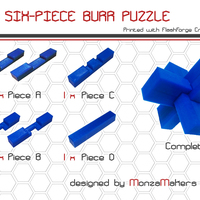 Small Six-piece Burr Puzzle 3D Printing 131799