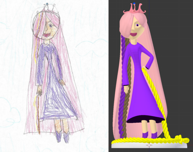 Kid Drawing to 3D model - Princess Kyera 3D Print 132200