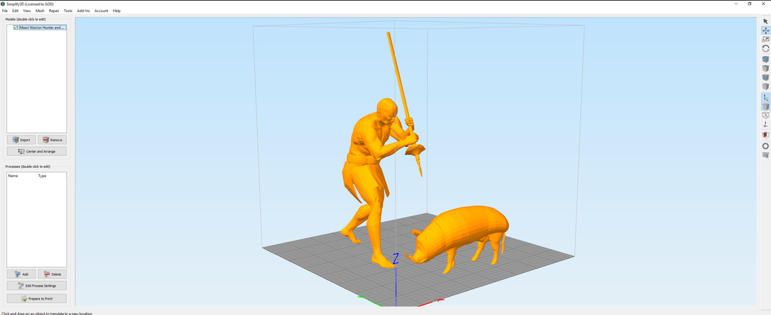Maori Warrior Hunter and Warthog 3D Print 132514