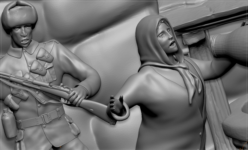 A Cruel Sodlier And An Rural Old Woman 3D Print 132547
