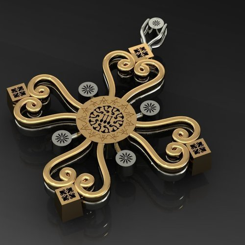 Aegean Filigree Pendant Cross 3D Print 133710