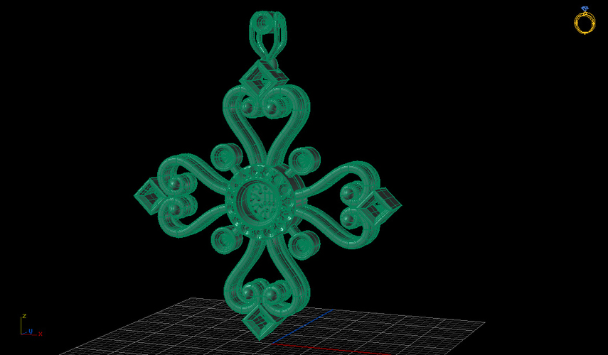 Aegean Filigree Pendant Cross 3D Print 133713