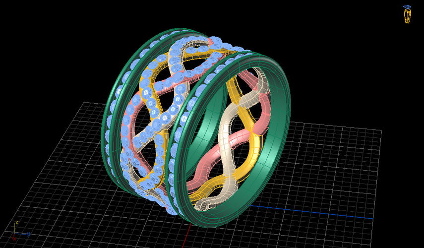 Attia Weave Fashion Ring  3D Print 133726