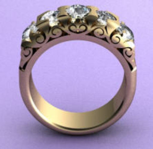 Fashion Bridged Ring 3D Print 133730