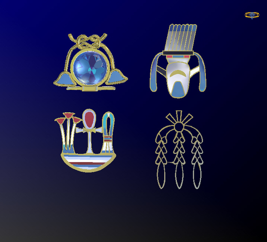 Egyptian Hieroglyphics Pendants/Charms 3D Print 133753