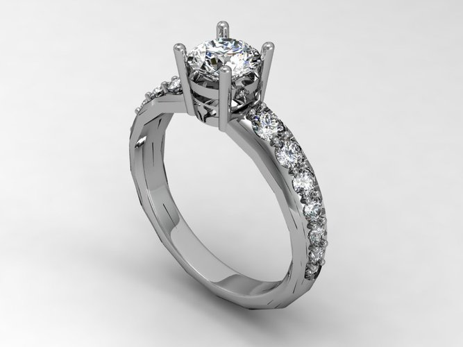 Engagement Ring Solitaire  3D Print 133830