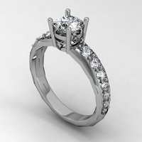Small Engagement Ring Solitaire  3D Printing 133830