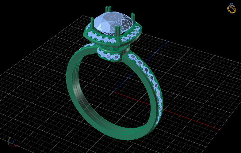 Cocktail Engagement Ring 3D Print 133838