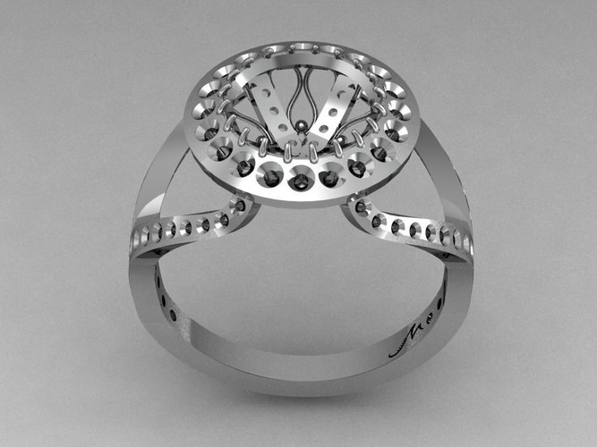 Cocktail Fashion Ring  3D Print 133846