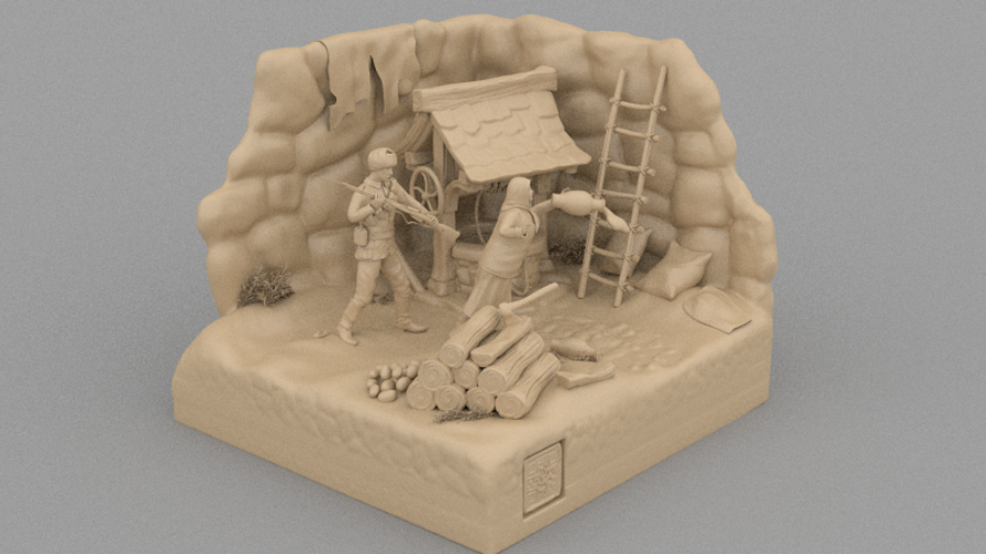 A Cruel Sodlier And An Rural Old Woman 3D Print 133858