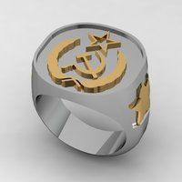 Small Soviet Russian Signet Ring 3D Printing 133873