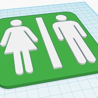 Small Toilet Sign 3D Printing 13389